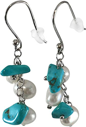 HinsonGayle Handpicked Freshwater Cultured Pearl & Turquoise Dangle Earrings Sterling Silver
