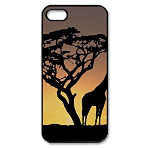 Giraffes In The Sunset Watercolor style Cover iPhone 5 and 5S Case (Wild Watercolor style Cover iPhone 5 and 5S Case)