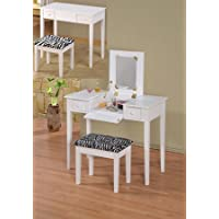 2 pc White finish wood bedroom make up vanity dressing table with flip up mirror and stool with zebra print material