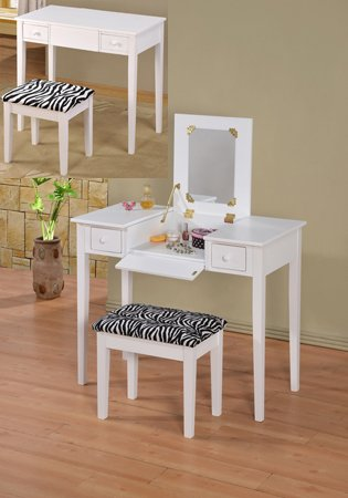 Amazoncom 2 Pc White Finish Wood Bedroom Make Up Vanity Dressing
