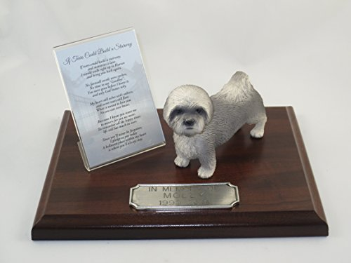 Beautiful Walnut Finished Personalized Memorial Plaque With Gray Puppycut Lhasa Apso Figurine