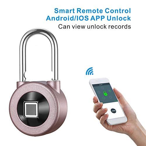 Kacul Fingerprint Padlock,Smart Metal Waterproof iOS/Android APP Smart Remote Control Keyless Luggage Lock for Bag,Door,Backpack,Bike (Rose) (rs001) by Kacul (Image #2)