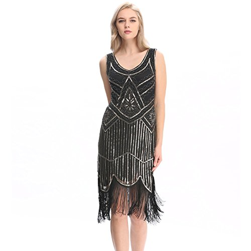 Pilot-Trade Women's 1920s Gatsby Vintage Flapper Sequin Party Fancy Dress Black S