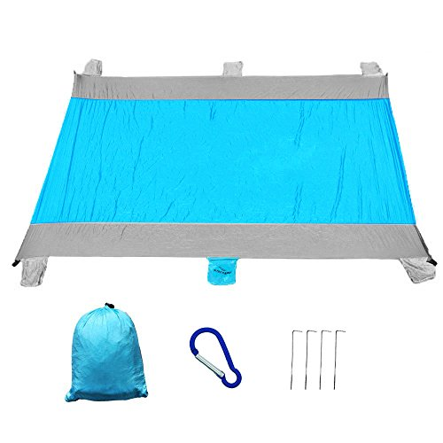 Supershu Large Size Outdoor Waterproof Pocket Blanket-6 Sand Pockets,86.6''x78.7'',Compact for Beach,Picnic,Hiking,Camping-Sand Free Beach Mat fro Festival or Travel by Supershu