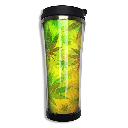 NiYoung Vacuum Insulated Tumbler Stainless Steel Water/Tea/Coffee Cup, Rasta Marijuana Weed Leaves Thermal Travel Mug for Ice Drink Hot Beverage