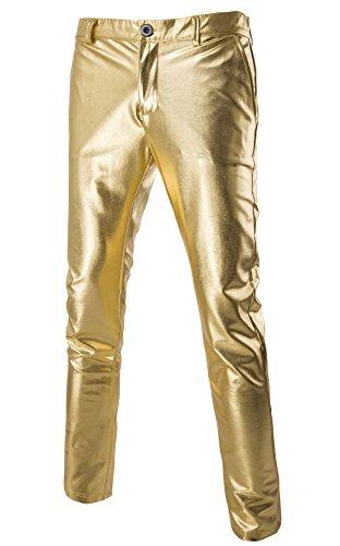 MADA Mens Skinny Night Club Metallic Faux Leather Pants