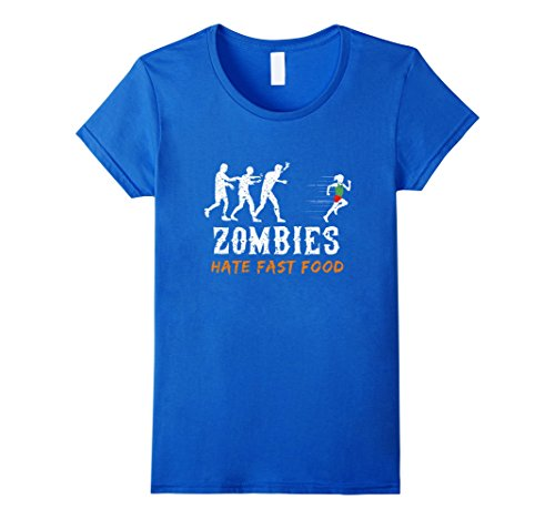Womens Zombies Hate Fast Food Halloween Runner Shirt Medium Royal Blue