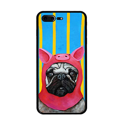 The Mass iPhone 8 Plus Case,iPhone 7 Plus Case,Tempered Glass Case with Custom Designs Back and Shockproof Bumper Cover for iPhone 7/8 Plus (Porky Pug)