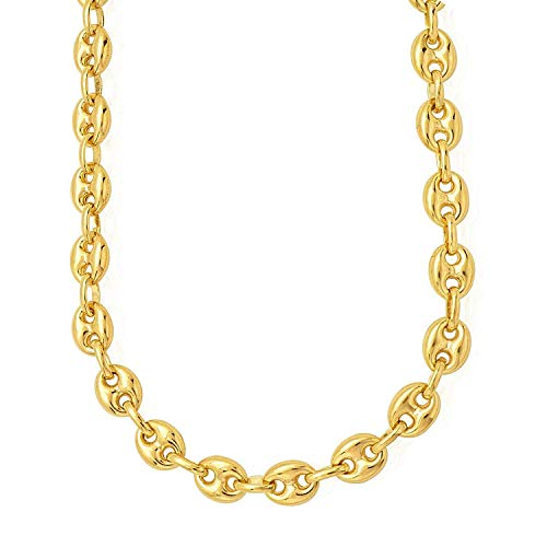 MCS Jewelry 14 Karat Puffed Mariner Link Chain Necklace 14K 4.7mm (Length: 18