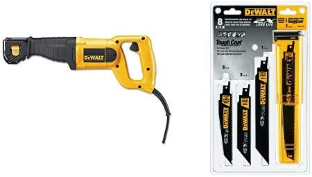 DEWALT DWE304 10-Amp Reciprocating Saw with DEWALT DWA4101 Bi-Metal 2X Reciprocating Saw Blade Set, 8-Piece