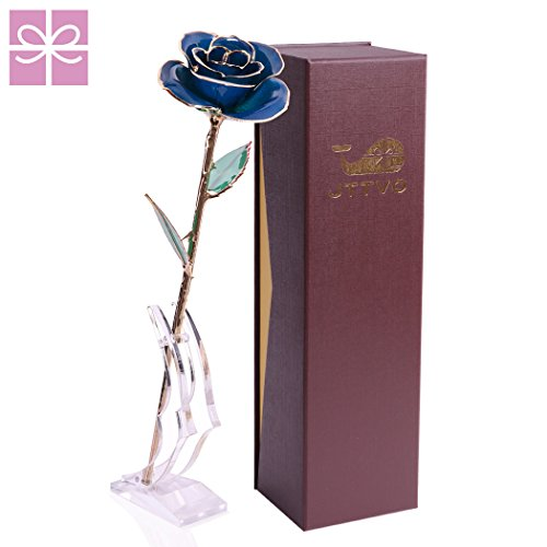 Gifts for Her Birthday Wedding Anniversary, 24k Gold Coated Rose Preserved Forever by JTTVO,Best Christmas Gifts for Women Mum Wife Girls Girlfriend,Valentines'day Gift (Blue)