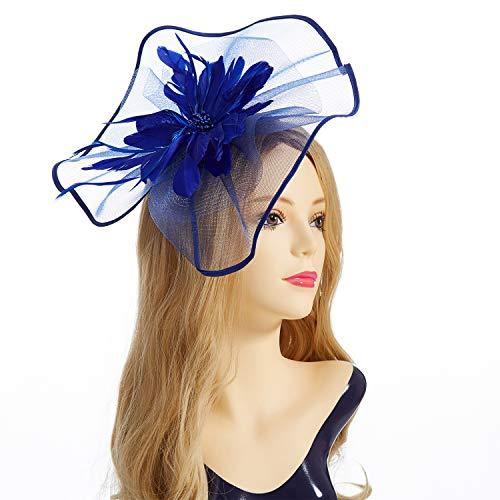 Fascinator Hat,Aiskki Fascinator Headband Feather Mesh Net Hat With Hairband,Tea Party Headwear,Flower Derby Hat with Clip,Kentucky Derby Hats for Women(Blue) by Aiskki (Image #1)
