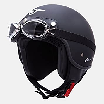 Casco jet XL – 87007 – Casco Custom de Rider Negro 61 – 62