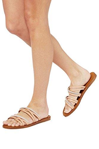 next Mujer Sandalias De Tiras Pedrería Piel Corte Regular Verano Calzado Desnudo