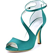 ElegantPark Women's Peep Toe High Heels Ankle Straps Buckles Satin Evening Party Prom Sandals