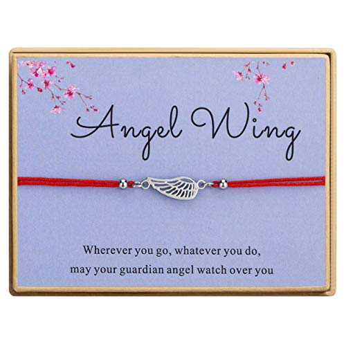 Bowisheet Angel Wing Bracelet Handmade Red Cord Ajustable Bracelet with Message Card Gift for Women -
