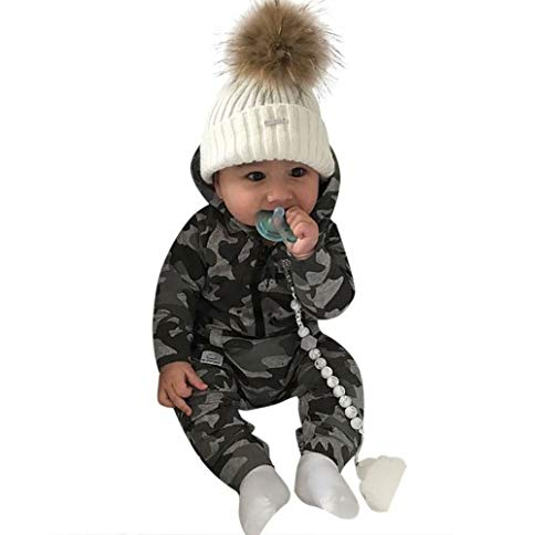 JELLYKIDS Baby Camouflage Clothes Unisex Newborn Baby Girl Long Sleeve Pocket Camo One Piece Romper Jumpsuit Size 0-6 Months/Tag 70 (Gray) (Camo Clothes Baby Boy)