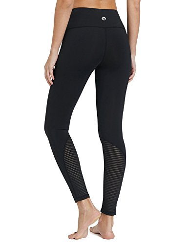 Baleaf Women's Tummy Control Mesh Workout Active Leggings Yoga Pants Inner Pocket Black Mesh-1 Size XS (Inner Mesh Pockets)