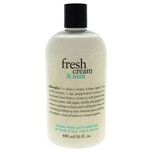 Philosophy Fresh Cream & Mint Shampoo Shower Gel & Bubble Bath for Women, 16 Ounce (Cream Bubble)