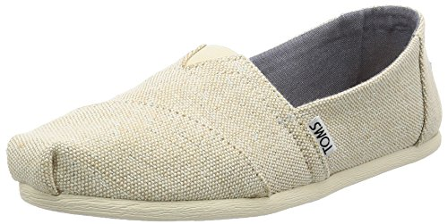 Toms Women's 10009756 Linen Alpargata Flat, Natural Metallic, 8 M US SEASONAL CLASSICS