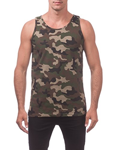 Top Camouflage Mens Tank - Pro Club Men's Comfort Cotton Tank Top, Green Camo, 3X-Large