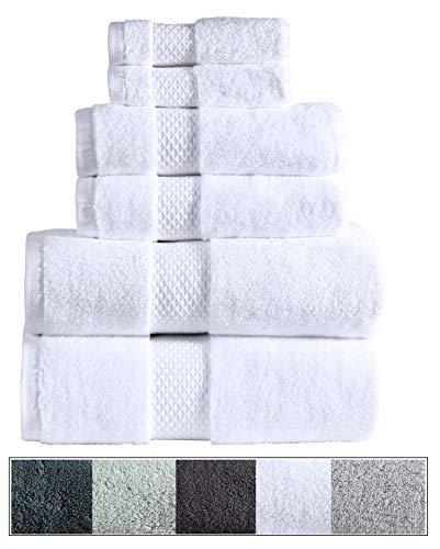 (Royal Ascot 100% Zero Twist Cotton Towel Set 6 pc Set- 2 Bath Towels, 2 Hand Towels, 2 Face Towels, 550 GSM, Softer Than a Cloud, Absorbent, Machine Washable, Plush, SPA Towels (White, 6 pc Set))