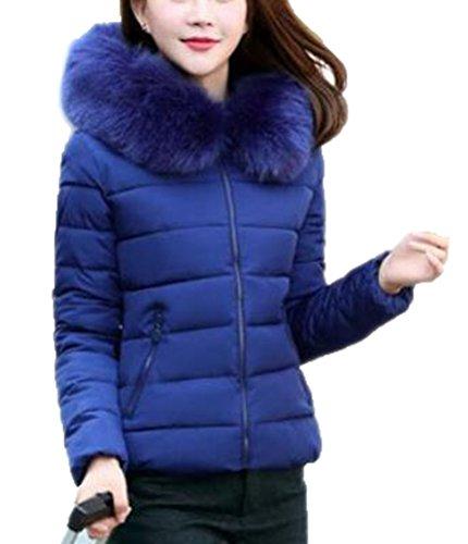 Brinny Hiver Veste en Coton Duvet Capuche Col Faux Fourrure Warm Femmes Dames Court Hooded Manteau Rembourr Matelass Blouson Jacket Coat Zipp Slim Grand Taille: L-5XL Bleu