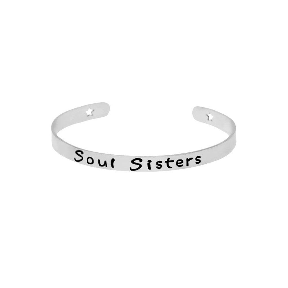 CHOA Soul Sisters Bracelets Sisters Opening Simple Motivational Fine Lettering Bangle Bracelet