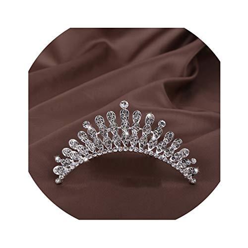 Bridal Jewelry Tiara Hair Accessories Korean Crown Accessories Pearl Rhinestone Crystal Wedding Show Crown Hair Comb - Tiara Nine Light Crystal