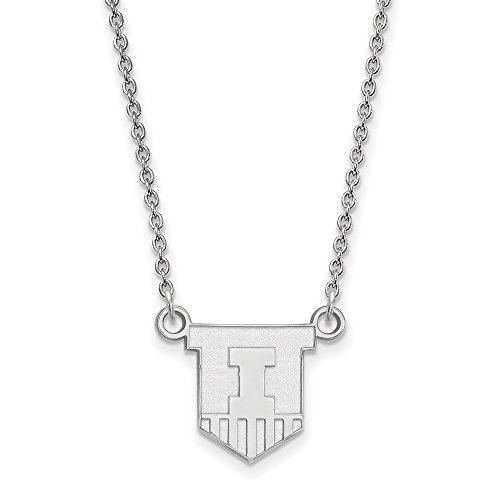 925 Sterling Silver Officially Licensed University College of Illinois Small Pendant with Necklace (18 in x 1.25 mm) by Unknown