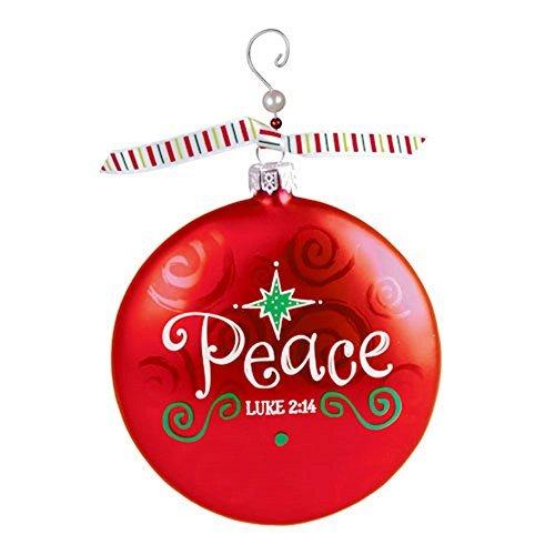 Red Peace Luke 2:14 Beaded Swirl 4 inch Glass Ball Christmas ()