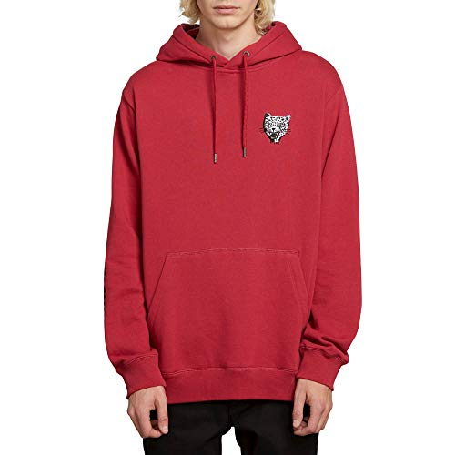 Volcom Men's Ozzie Wright Badass Cats Hooded Sweatshirt, Burgundy X-Large