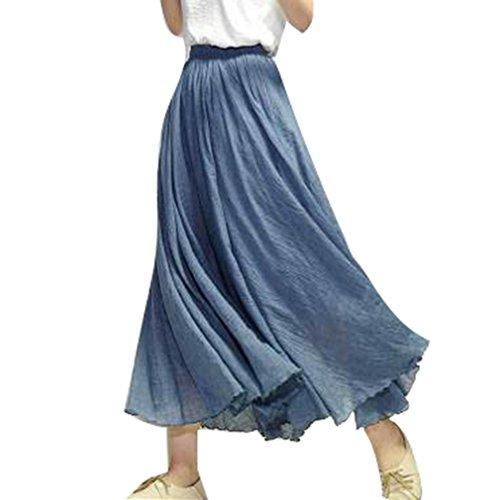 Jupe Elastique Blue Taille Suture Jupe Style Double Respirant Volants Femme Littraire Lin Longue Niagara Coton Elgant Double Couche TAwxP1znF