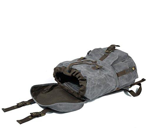 LQABW Canvas Schultertasche Öl Wachsbeutel Retro Outdoor Reisetasche Computer Große Kapazität Rucksack Gray L0HXRkhXq