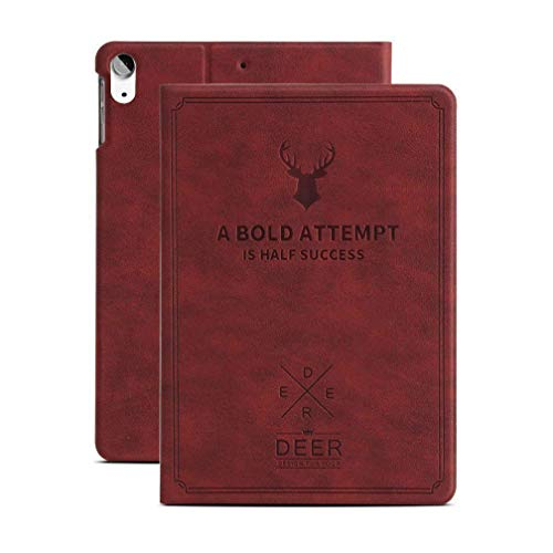 Cazcase PU Leather Smart Deer Pattern Flip Case Cover for Apple Ipad Air 4 10.9 2020  Wine Red
