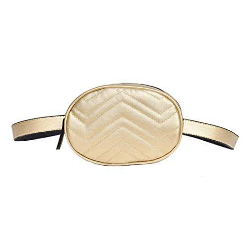 Yuutimko Fashion Leather Fanny Bag Women Pouch Pack Gold Travel Bag Waist Bumbag Sa64SqA