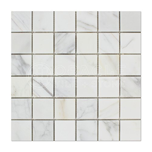(Calacatta Gold (Italian Calcutta) Marble 2 X 2 Mosaic Tile, Honed)