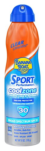 Banana Boat Sunscreen Sport Perfomance Cool Zone Broad Spectrum Sun Care Sunscreen Spray - SPF 30, 6 Ounce