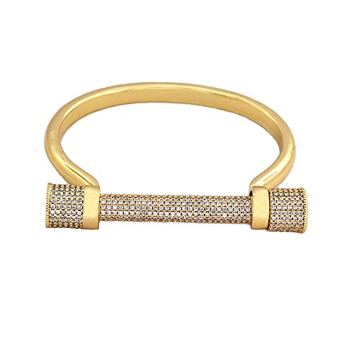 Horseshoe Magnetic Bracelet - Baoli Silver Pave Diamond Horseshoe D Letter Bangle for Women (yellow gold)