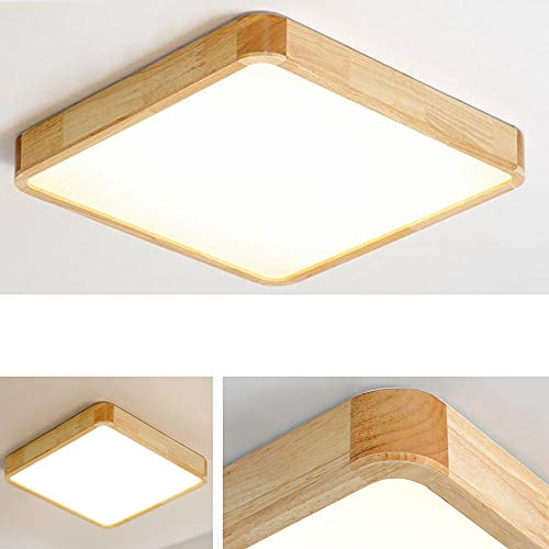 JFIOSD Ceiling Light Oak Wood Ceiling Lamp, Rectangular Simple Modern Style LED Lamp for Living Room Bedroom Modern Lighting (Size: 30 30cm) (Lamp Oak Ceiling)