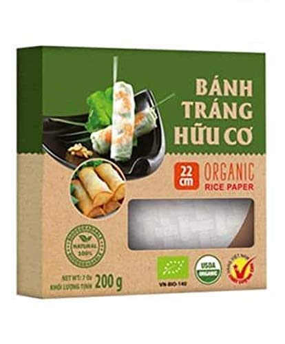 2 Boxes of USDA Organic Spring Roll Rice Paper Wrappers, 22 centimeters, Approx. 54 Sheets Total (22 cms, 2 Packs)