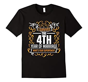 Men's 4th Wedding Anniversary Gifts 4 Year T Shirt For Her & Him 3XL Black