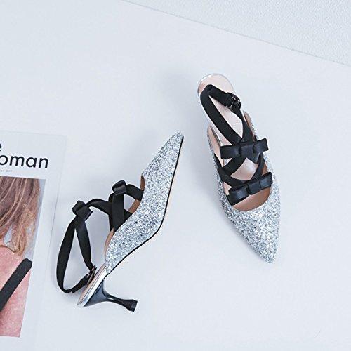 Tobillo Mujer al Sandalias Zapatos de ZXMXY de Moda Cinta Estilete de para Aguja Verano del Aire Casual para Zapatos Libre Caminando tacón del Plata Correa de la Sandalias de Brillante 4OI4wFdq