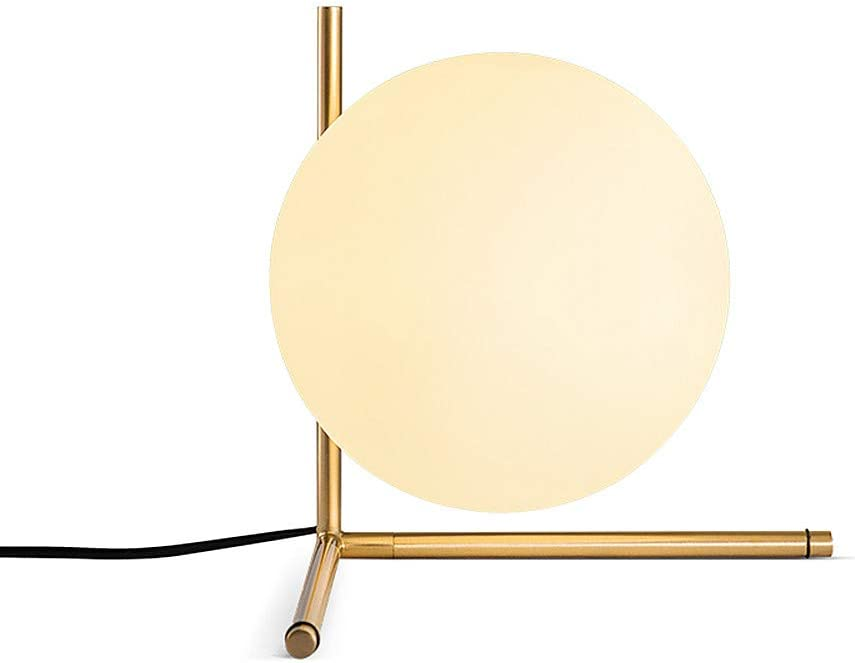BOKT Mid Century Modern Brass Table Lamp Home Decor Glass Ball and ANG Metal Table Lamp Reading Lamp for Office, Bedroom, Living Room (A Style)
