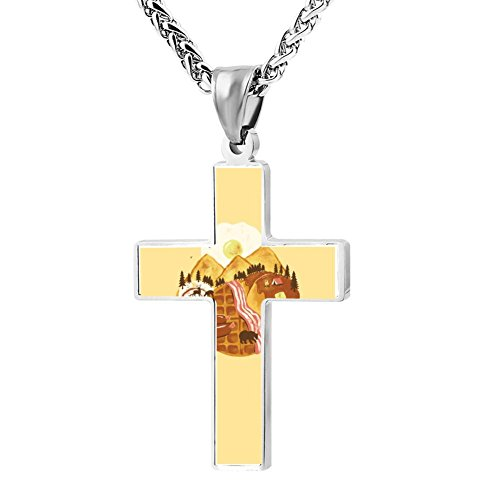 Simple Small Zinc Alloy Religious Cross Necklace For Men Women,Print Breakfast Scape