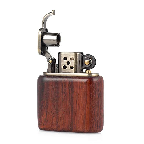 Rosewood Wooden Case Antique Style Lift Arm Oil Petrol Lighter