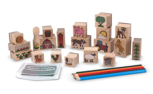Melissa & Doug Stamp-a-Scene Wooden Stamp Set: Farm - 20 Stamps, 5 Colored Pencils, and 2-Color Stamp Pad by Melissa & Doug