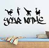 Personalized Graffiti Street Dance,Hip Hop Wall Decals Removable Vinyl Wall Stickers Wall Art Murals for Living Room Kids Rooms Girls Bedrooms Nursery 100Cm (W) X 43Cm (H)