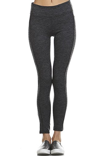 Mono B Womens Slim Fit Workout Full Leggings with Side Contrast Stitch