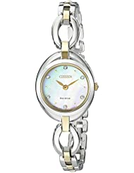 Citizen Eco-Drive Womens Silhouette Quartz Stainless Steel Casual Watch, Color: Two Tone (Model: EX1434-55D)